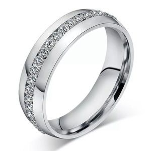 Silver band with rhinestones